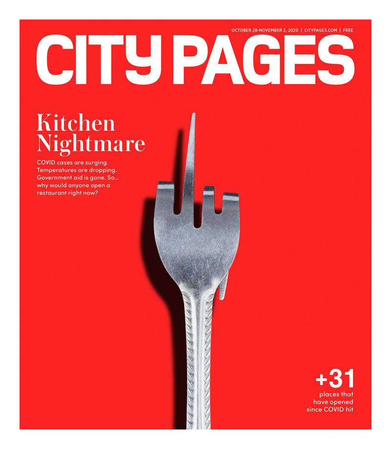 """A silver fork with its tines pulled back to look like a middle finger on a red background. The cover story is called, """"Kitchen Nightmare,"""" and says, """"COVID cases are surging, so why would anyone open a restaurant right now?"""""""