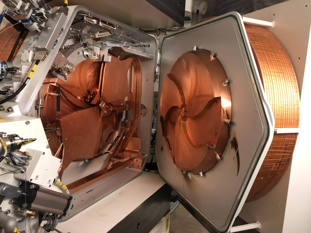 copper colored Cyclotron machine on Mayo Clinic Florida campus