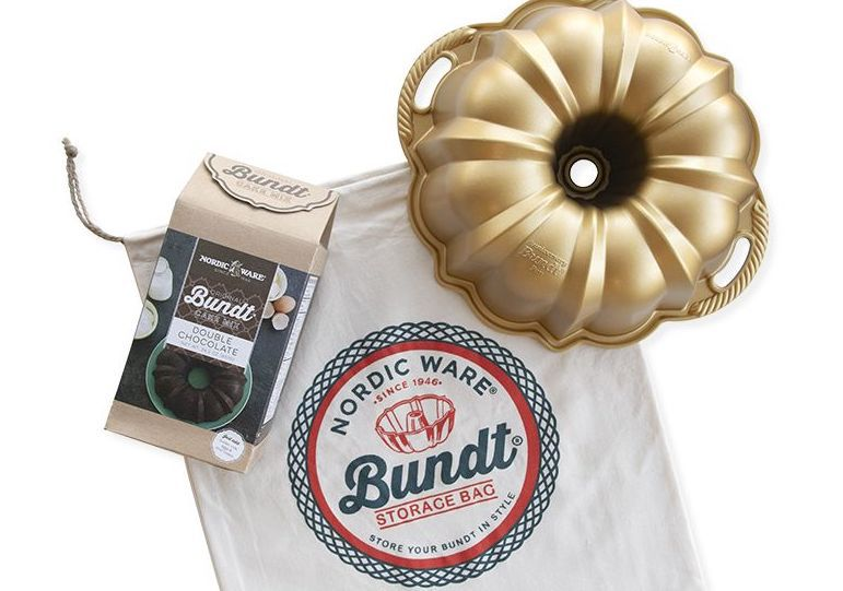 A gift set with a bundt pan and cake mix