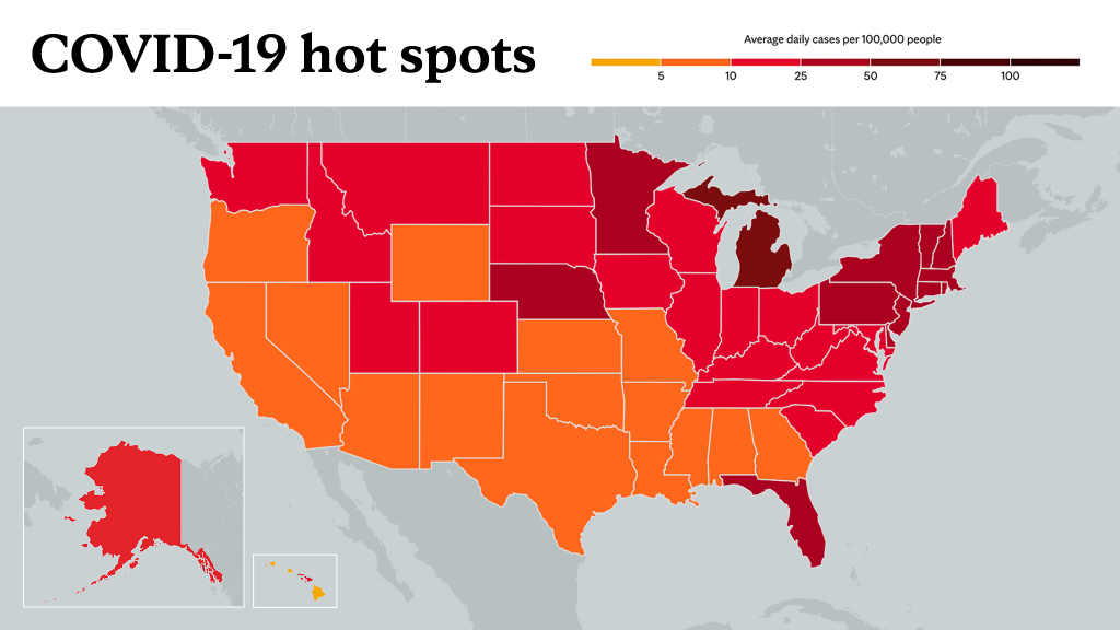 April 8, 2021- Mayo Clinic COVID-19 trending map using red color tones for hot spots