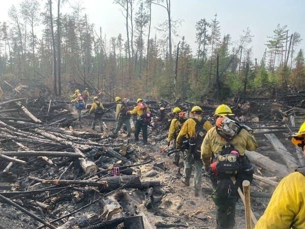 Wildland firefighters walk down a trail